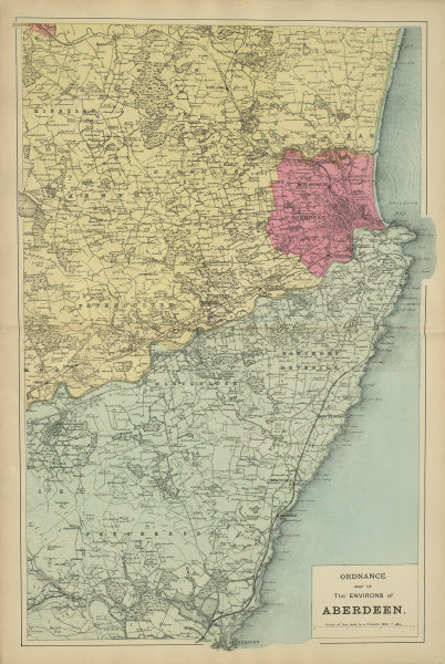 ABERDEEN & ENVIRONS Stonehaven antique map by GW BACON 1885 old