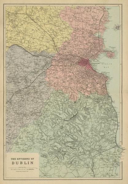 DUBLIN & ENVIRONS Meath Kildare Wicklow IRELAND antique map by GW BACON 1885