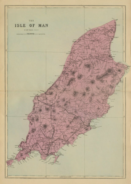 ISLE OF MAN antique map by GW BACON antique map by GW BACON 1885 old