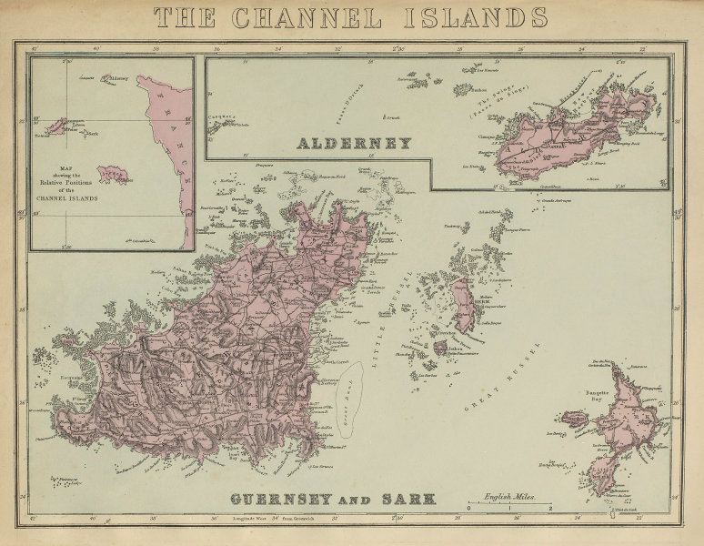 CHANNEL ISLANDS Alderney, Guernsey, Sark & Herm antique map by GW BACON 1885