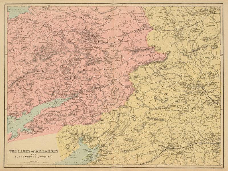 KILLARNEY LAKES Kerry Bantry Kenmare Ireland antique map by GW BACON 1885