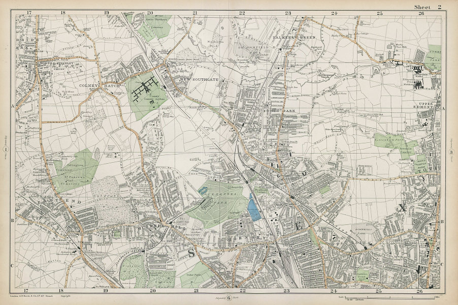 FRIERN BARNET/HORNSEY Palmers/Wood Green Southgate Muswell Hill. BACON  1906 map