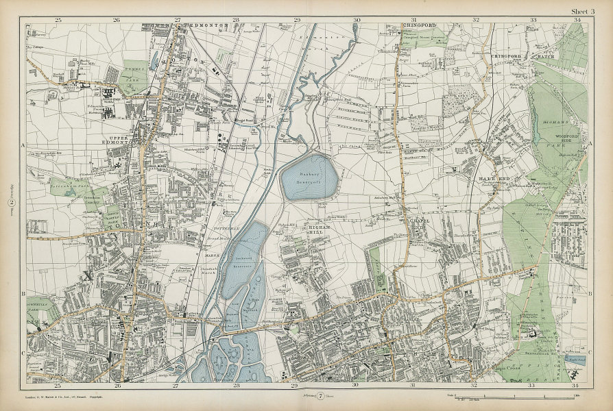 TOTTENHAM WALTHAMSTOW EDMONTON Chingford Hale End Epping Forest. BACON  1906 map