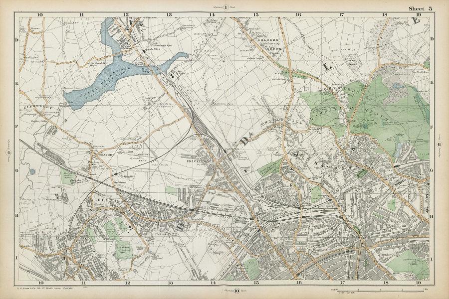 HAMPSTEAD WILLESDEN Cricklewood Golders Green Kilburn Belsize Pk BACON  1906 map