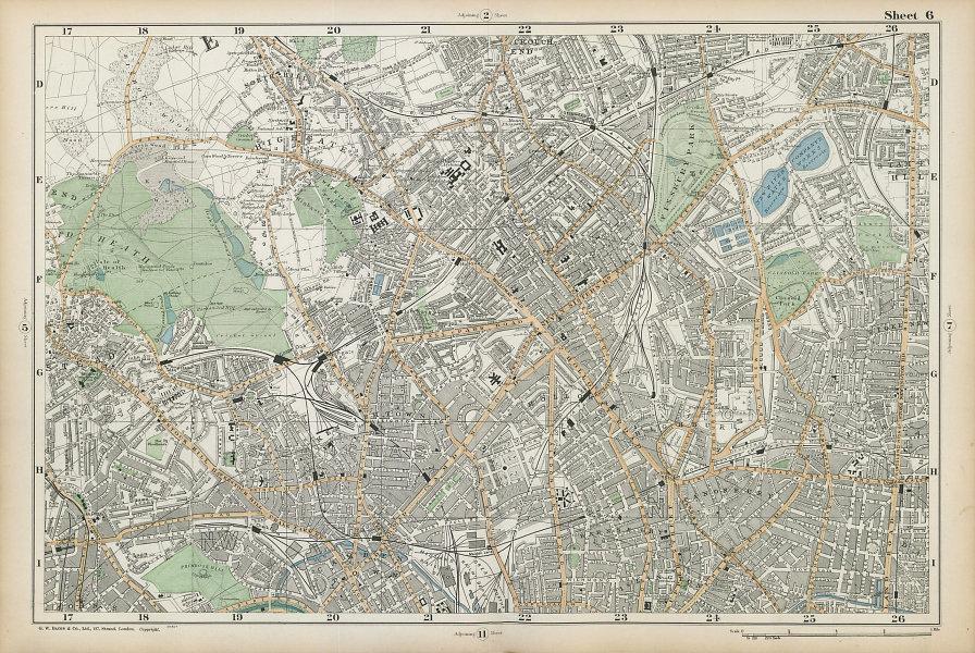 HAMPSTEAD ISLINGTON Camden Highgate Finsbury Park Primrose Hill. BACON  1906 map