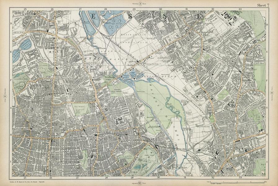 HACKNEY STRATFORD LEYTON/STONE STOKE NEWINGTON Clapton Dalston. BACON  1906 map