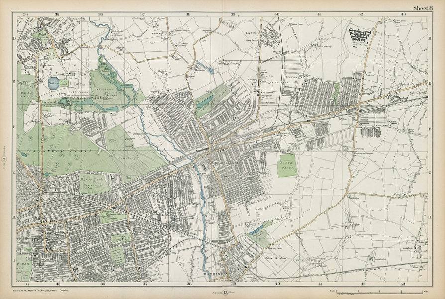 WANSTEAD ILFORD BARKING Forest Gate Seven Kings Chadwell Heath. BACON  1906 map
