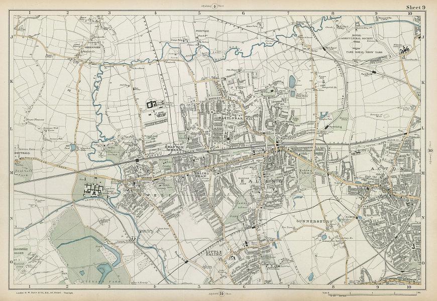EALING/ACTON Greenford Hanwell Gunnersbury Perivale Hanger Lane. BACON  1906 map