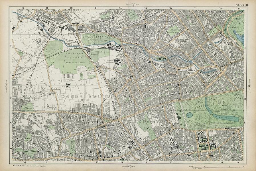 LONDON Notting Hill Kensington White City Hammersmith Bayswater BACON  1906 map