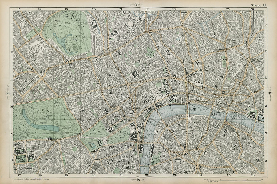 CENTRAL LONDON West End City Southwark Westminster Shoreditch. BACON  1906 map