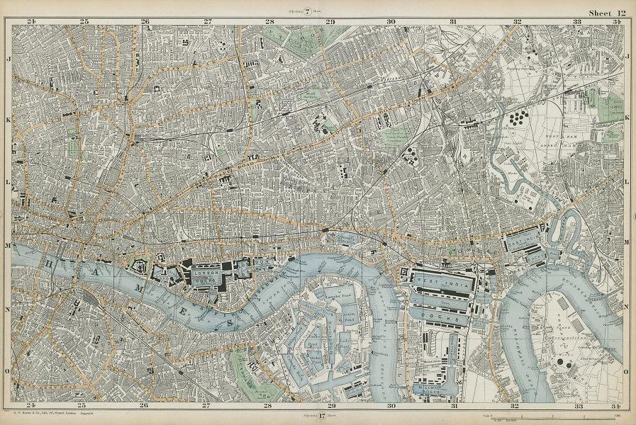 LONDON City East End Southwark Bethnal Green Docks Shoreditch. BACON  1906 map