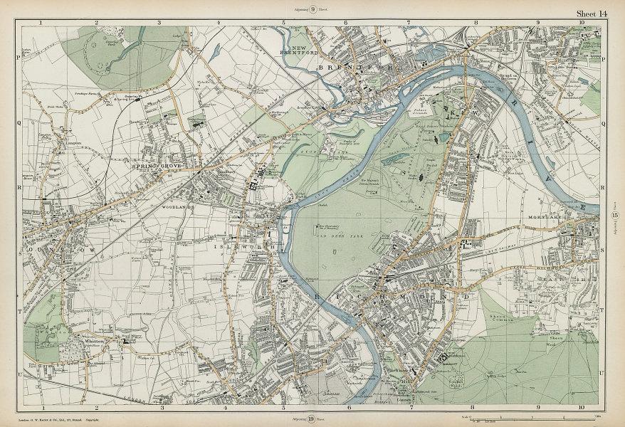 RICHMOND/HOUNSLOW Kew Isleworth Brentford Spring Grove Mortlake. BACON  1906 map