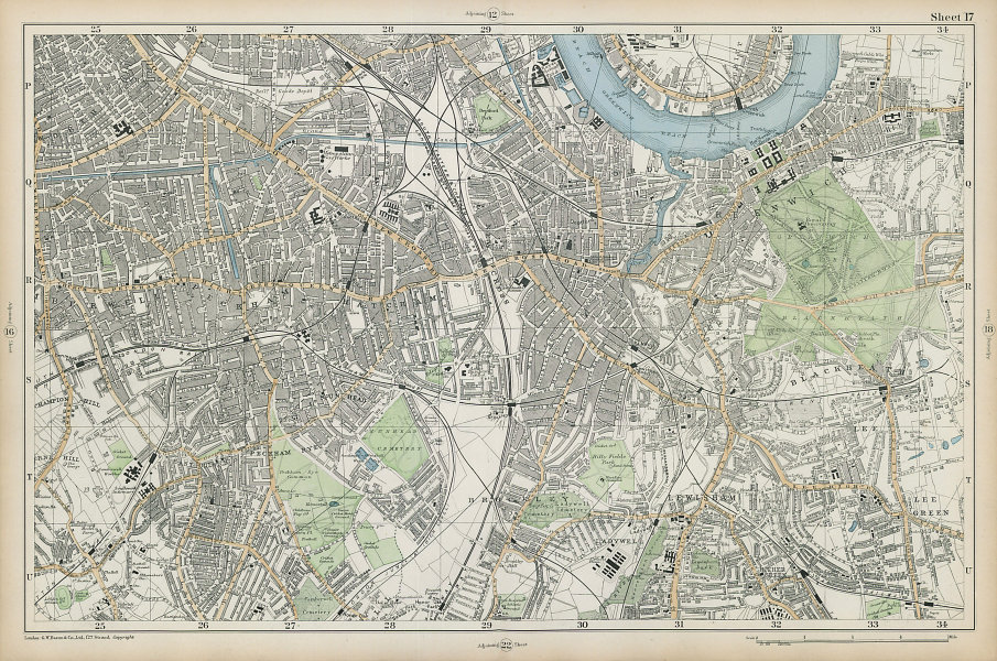 LONDON SOUTH Camberwell Greenwich Deptford Lewisham Southwark. BACON  1906 map
