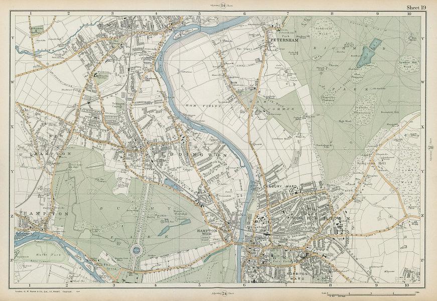 SW LONDON Twickenham Kingston Teddington Hampton Richmond. BACON  1906 old map