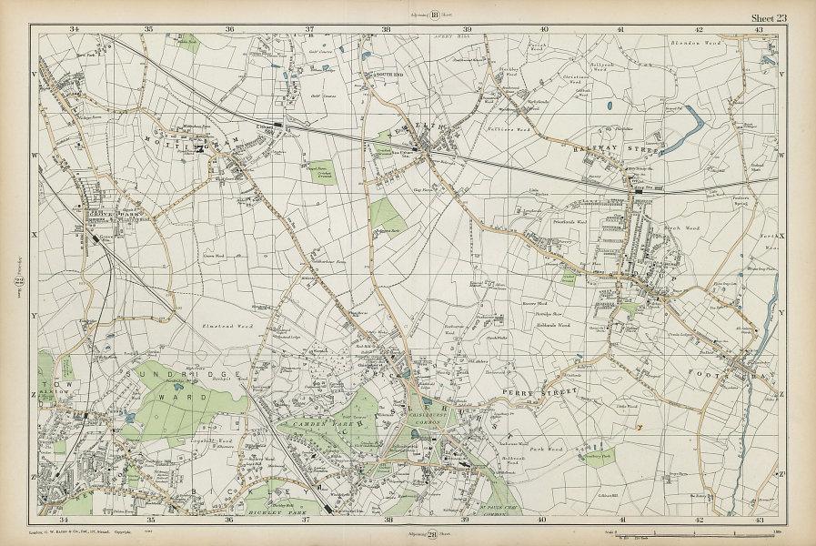 CHISLEHURST Eltham Mottingham Bromley Sidcup Foots Cray Catford. BACON  1906 map