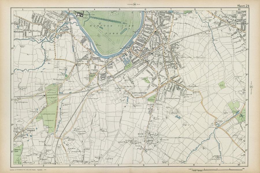 SURBITON & ESHER Hampton Court East Molesey Thames Ditton Hook. BACON  1906 map