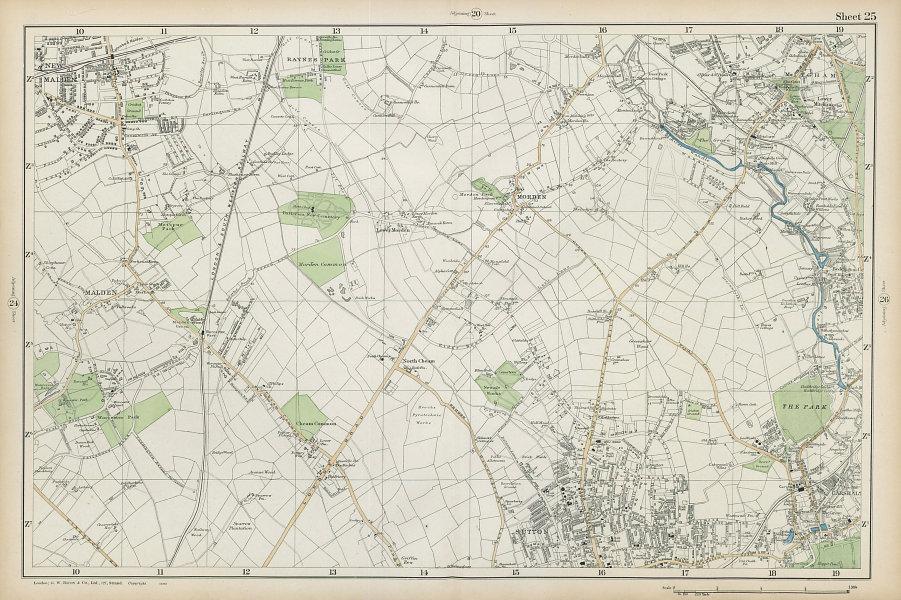 SUTTON Carshalton Morden New Malden Worcester Pk Mitcham Cheam. BACON  1906 map