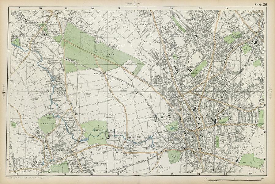 CROYDON Mitcham Carshalton Wallington Thornton Heath Beddington. BACON  1906 map