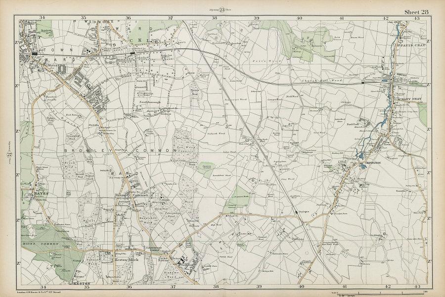 BROMLEY & ORPINGTON Hayes Petts Wood Keston St Paul's Mary Cray. BACON  1906 map