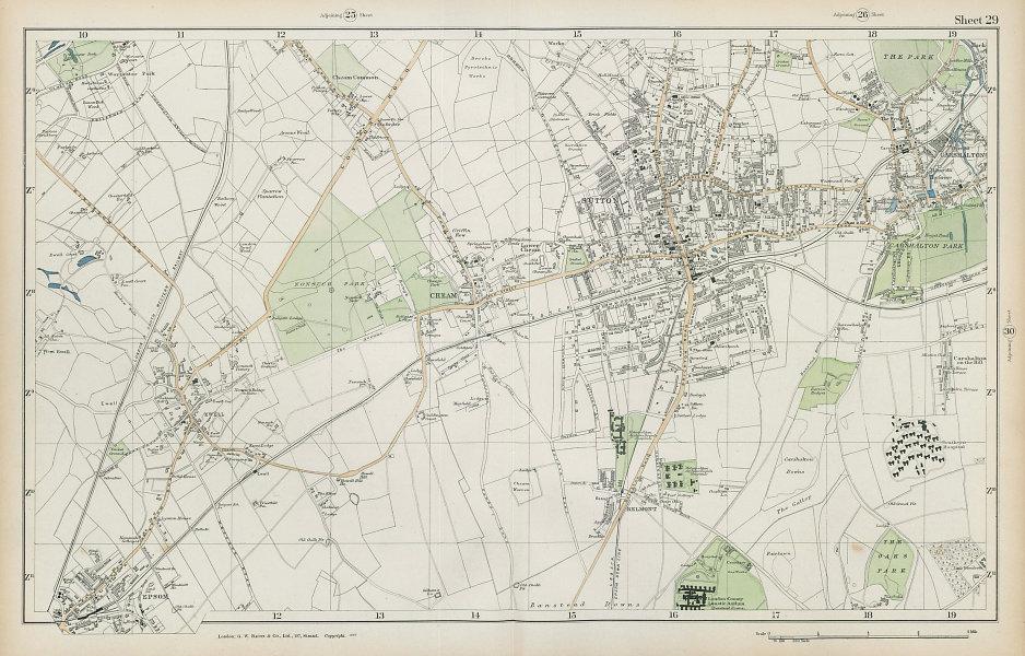 SUTTON Cheam Epsom Belmont Carshalton Ewell Banstead Downs. BACON  1906 map