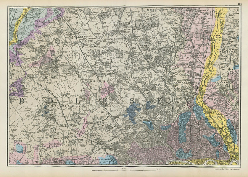 NW LONDON GEOLOGICAL Westminster Islington Brent Ealing Camden.BACON 1906 map
