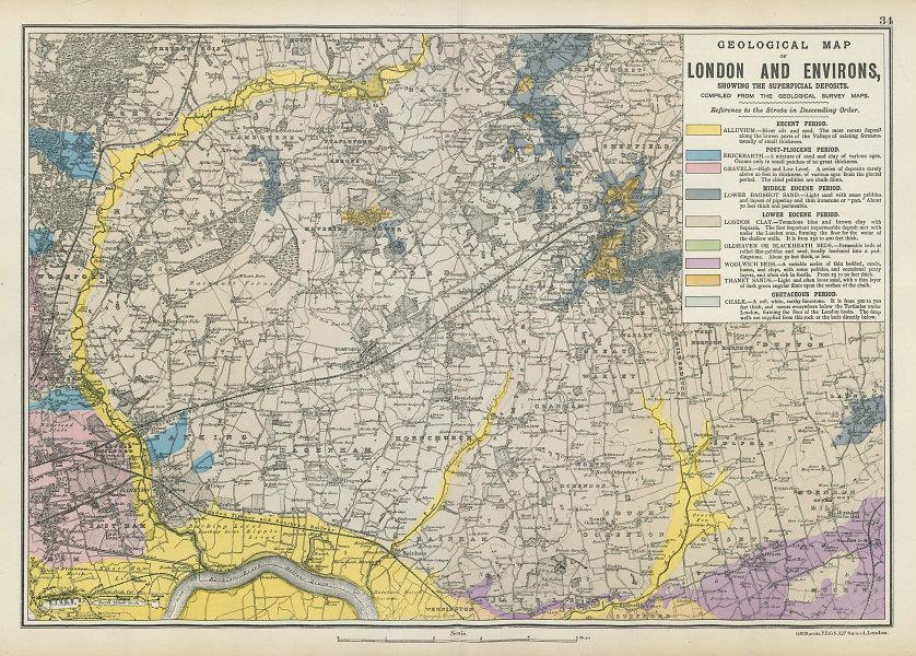 NE LONDON GEOLOGICAL Essex Redbridge Newham Barking Dagenham &c.BACON 1906 map