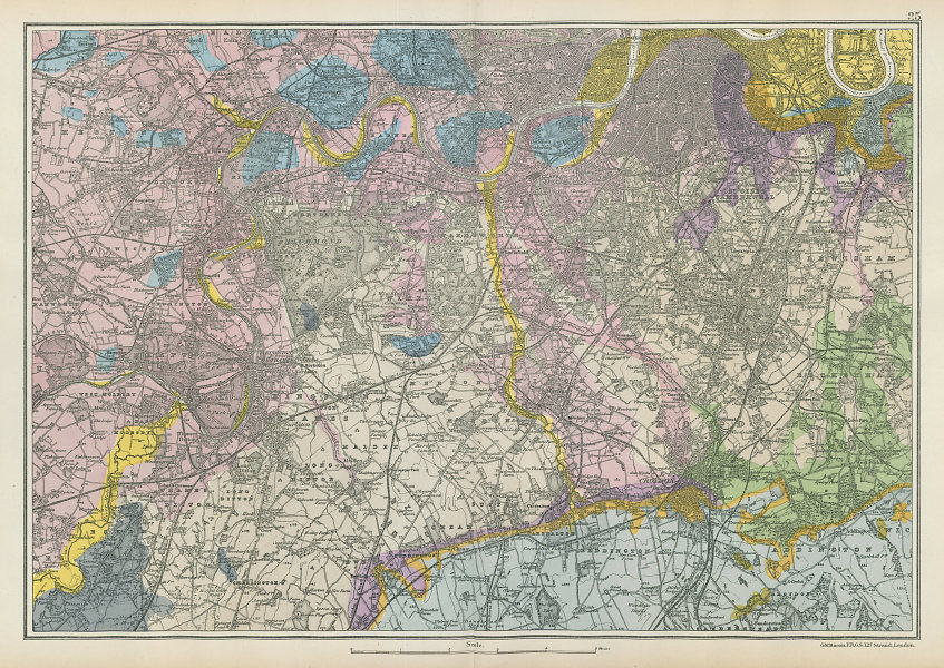 SW LONDON GEOLOGICAL K&C Fulham Surrey Richmond Wandsworth &c. BACON 1906 map
