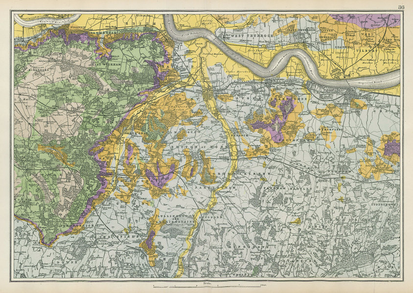SOUTH EAST LONDON GEOLOGICAL Kent Greenwich Bexley Bromley &c. BACON 1906 map
