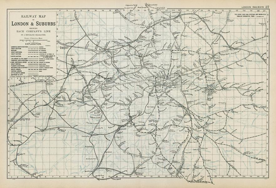 LONDON RAILWAYS shows companies & termini. Tube Underground. BACON 1906 map