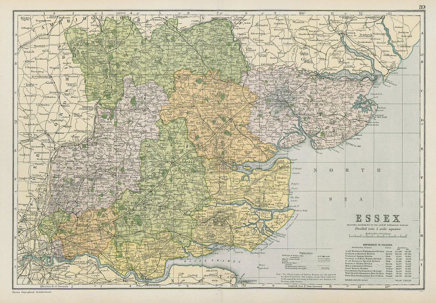 ESSEX county map. Parliamentary constituencies divisions. Railways. BACON 1906