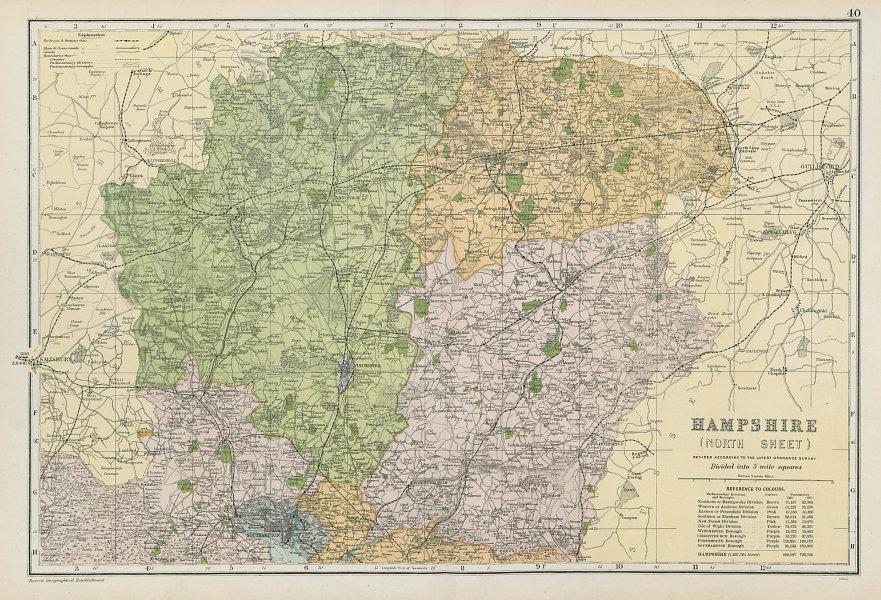 HAMPSHIRE NORTH Parliamentary constituencies divisions.Railways.BACON 1906 map