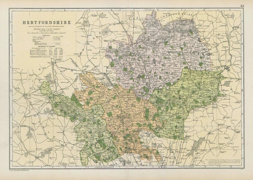 HERTFORDSHIRE county map. Parliamentary constituencies. Railways. BACON 1906