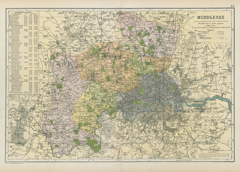 MIDDLESEX & LONDON county map.Parliamentary constituencies.Railways.BACON 1906