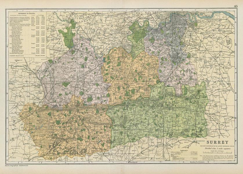 SURREY county map. Parliamentary constituencies divisions. Railways. BACON 1906