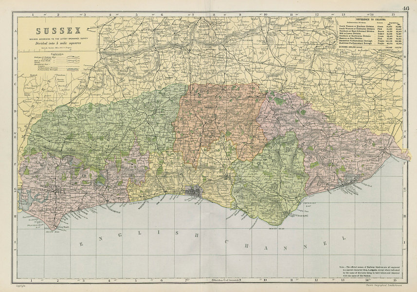 SUSSEX county map. Parliamentary constituencies divisions. Railways. BACON 1906