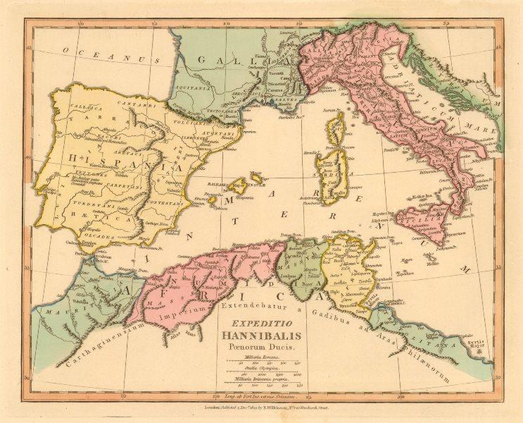 Associate Product 'Expeditio Hannibalis Poenorum Ducis'. WILKINSON. Western Mediterranean 1822 map