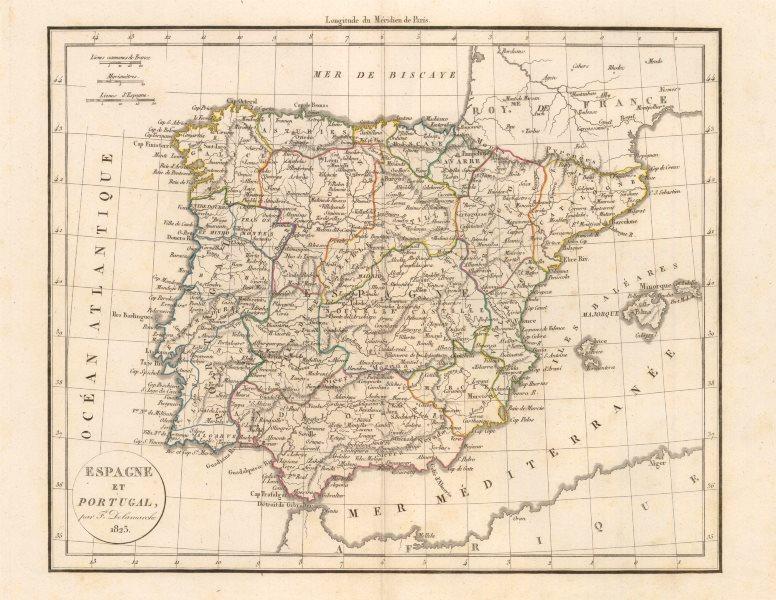 'Espagne et Portugal' by Felix Delamarche. Iberia Spain Portugal 1823 old map
