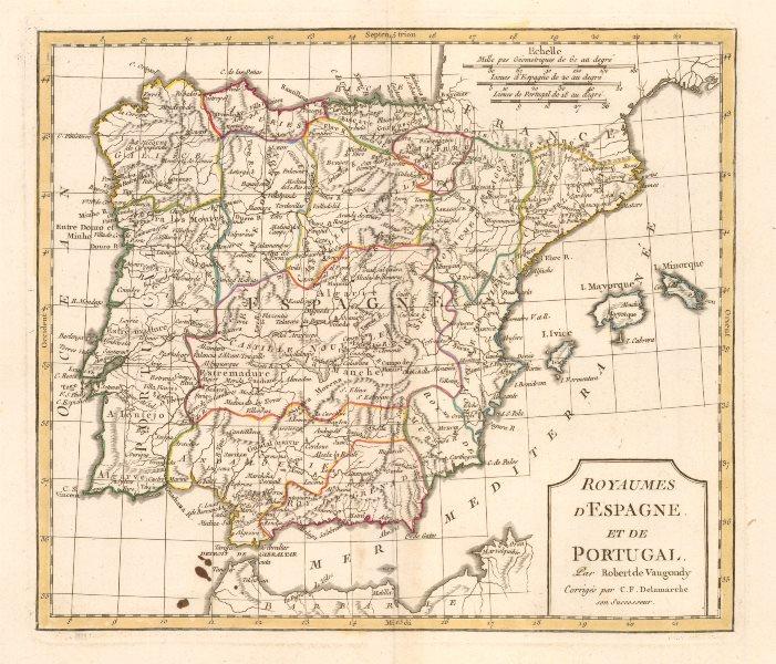 Associate Product 'Royaumes d'Espagne et de Portugal' by Delamarche. Spain & Portugal 1804 map