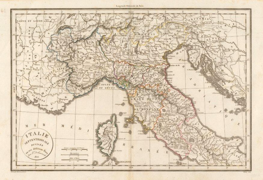 Associate Product 'Italie Septentrionale divisée en ses différens États'. DELAMARCHE 1823 map