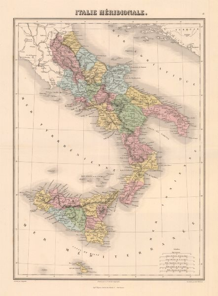 Associate Product 'Italie Méridionale'. MIGEON. Southern Italy 1883 old antique map plan chart