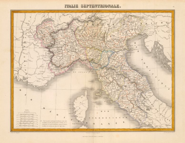 Associate Product 'Italie Septentrionale'. MIGEON. Northern Italy c1883 old antique map chart