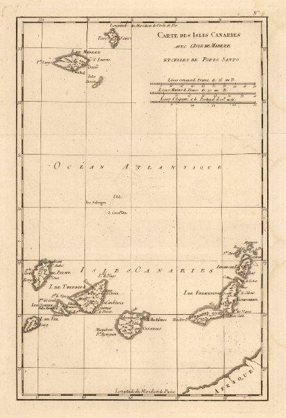 Associate Product 'Carte des Isles Canaries avec L'Isle de Madere et…Porto Santo'. BONNE c1787 map