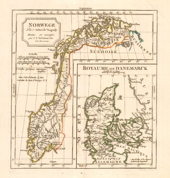 Associate Product Norwege / Royaume de Danemarck by C.F. Delamarche. Norway & Denmark 1806 map