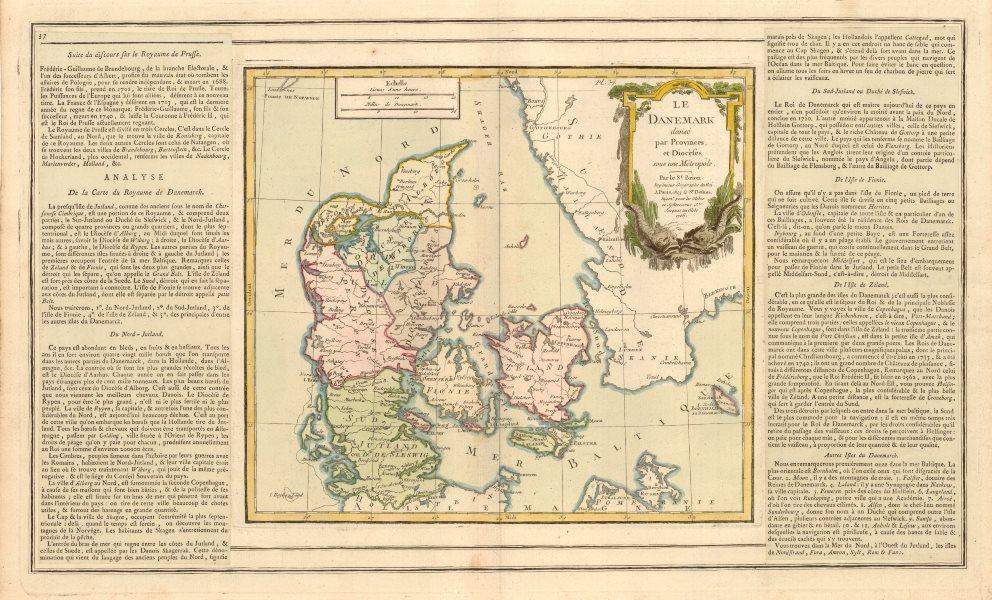 Associate Product 'Le Danemark divisé par Provinces et Diocèses…' BRION DE LA TOUR/DESNOS 1766 map