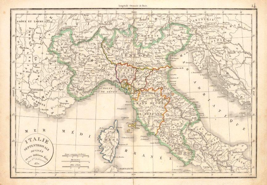 Associate Product 'Italie Septentrionale divisée en ses différens États'. DELAMARCHE 1830 map