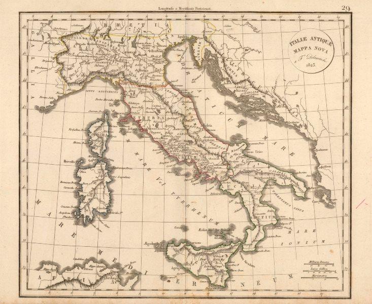 Associate Product 'Italiae Antiquae Mappa Nova' by Felix Delamarche. Ancient Italy 1825 old