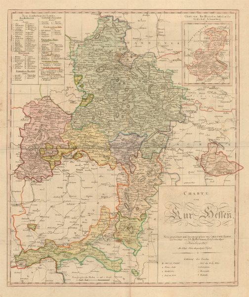 Associate Product 'Charte von Kur Hessen' by Christoph Fembo. Kurhessen Germany 1817 old map