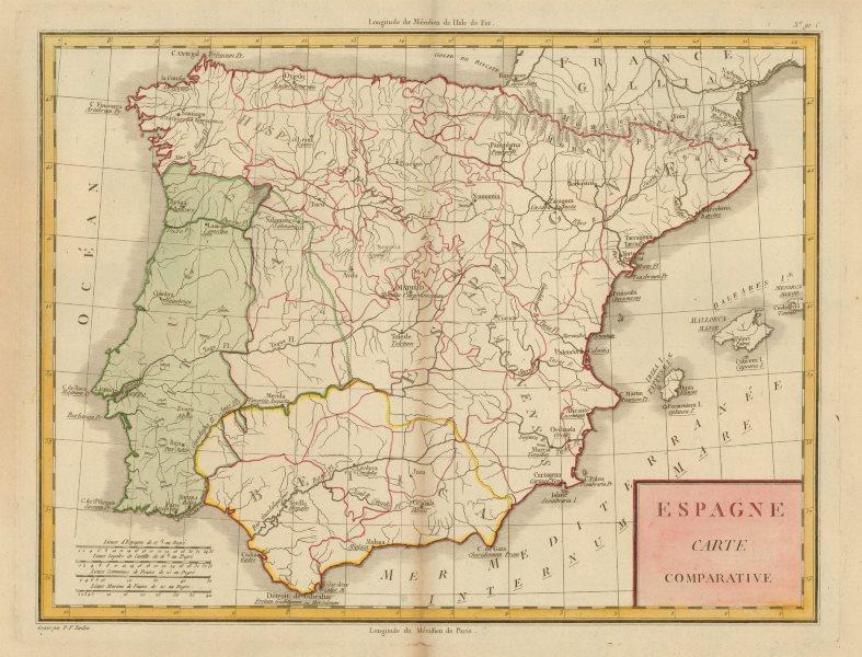 Associate Product 'Espagne Carte Comparative'. Mentelle/Chanlaire. Ancient/ Modern Spain c1798 map