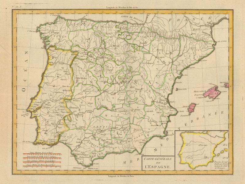 Associate Product 'Carte de Generale de L'Espagne' by Mentelle/Chanlaire. Spain Iberia c1798 map