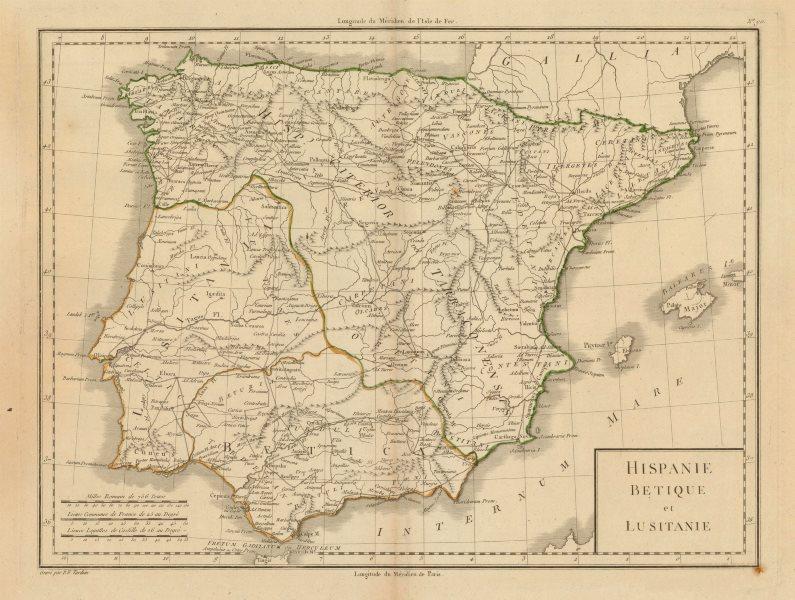 Associate Product 'Hispanie Betique & Lusitanie'. Mentelle/Chanlaire. Baetica Lusitania c1798 map